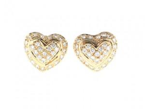 Vintage 1990s 14k Diamond Heart Earrings