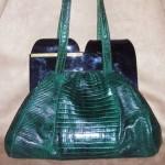 vintage lizard and bakelite handbag