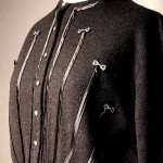 vintage schiaparelli sweater with ribbon and rhinestones