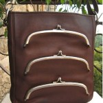 vintage cashin for coach triple kiss handbag