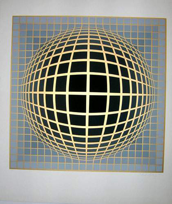 vintage vasareley sphere op art lithograph
