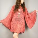 vintage 1970s crochet angel sleeve mini dress