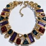 vintage trifari jewel rhinestone necklace