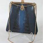 vintage leather and crocodile handbag