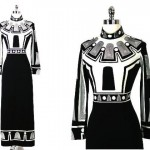 vintage egyptian print maxi dress