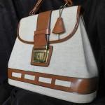 vintage linen and leather handbag