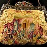 vintage petit point figural jeweled purse