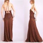 vintage 1970s chevron metallic maxi dress