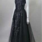 vintage 1950s sequin and tulle evening gown