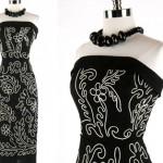 vintage 1950s strapless soutache dress