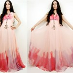 vintage 1970s handpainted silk maxi gown