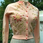 vintage 1950s estelle parker silk embroidered sweater