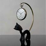 vintage cat pocket watch stand