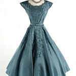 vintage 1950s soutache taffeta party dress