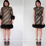 vintage 1960s fox trim coat and dress set