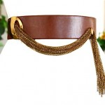 vintage 1960s leather and brass chain belt