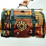 vintage 1970s persian kilim tapestry weekender bag
