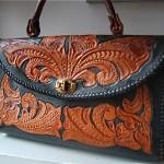 vintage 1970s tooled leather handbag