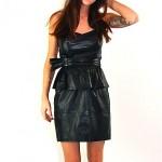 vintage 1980s strapless leather mini dress