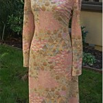 vintage goldworm metallic knit print dress