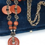 antique chinese silver filigree goldstone necklace