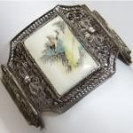 antique chinese silver filigree scrimshaw bird bracelet