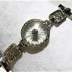 vintage 1920s art deco kremetz 14k white gold camphor glass bracelet