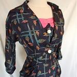 vintage 1940s silk cocktial dress suit