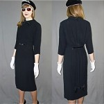 vintage 1950s gathered little black knit dress