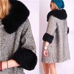 vintage 1960s fox trim herringbone wool coat