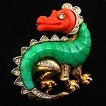 vintage 1960s kramer dragon brooch