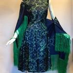 vintage 1960s pauline trigere silk dress with fringed shawl