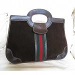vintage 1970s gucci suede handbag