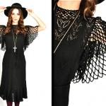 vintage 1970s pointelle bell sleeve knit sweater dress