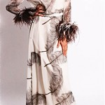vintage 1970s sheer chiffon ostrich feather maxi dress