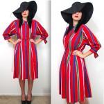 vintage 1970s ted lapidus striped silk dress