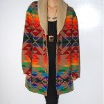 vintage pendleton wool and faux shearling coat