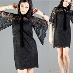 vintage scalloped bell sleeve lace mini dress