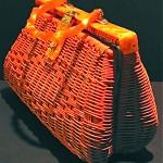 vintage wicker and lucite handbag