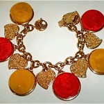 vintage ysl bakelite and heart bracelet