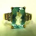 vintage 14k aquamarine and diamond ring