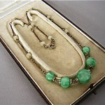 vintage 1920s czech peking jade glass necklace