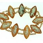 vintage 1930s 18k gold cameo bracelet