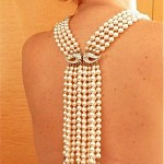vintage 1940s waterfall pearl and rhinestone necklace