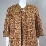vintage 1950s raffia lace dress and coat set