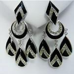 vintage 1950s trifari art deco enamel and rhinestone earrings