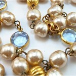 vintage chanel glass pearls and crystal necklace