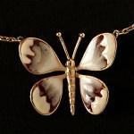 vintage christian dior enamel butterfly necklace