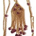 vintage goldette faceted crystal tassel necklace