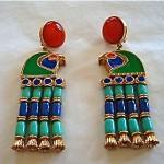 vintage hattie carnegie egyptian revival bird earrings